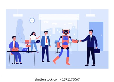 New robotic employee. Humanoid robot shaking hands with businessman in office flat vector illustration. Technology, innovation, robotics concept for banner, website design or landing web page