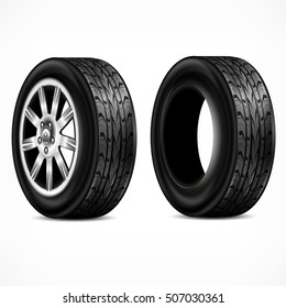 New rubber tire and metalic wheel on white background. Tyres wheels for racing concept. Vector illustration
