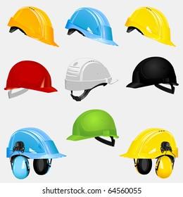 New safety set helmets. Vector illustration