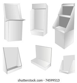 new set of 6 white display. vector illustration