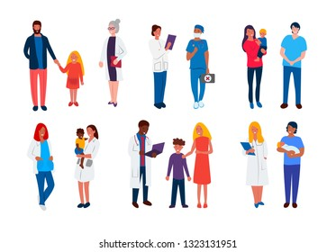 New Set of doctors. Pediatrician with mother and child, a team of hospital staff, a couple of medical professionals, healthcare worker and an elderly patient. Vector illustration in cartoon style