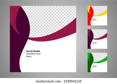 New set of editable minimal banner templates. Suitable for social media posts and web or internet ads. Vector illustration with photo college.