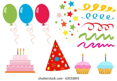 New Set of elements for birthday party, vector