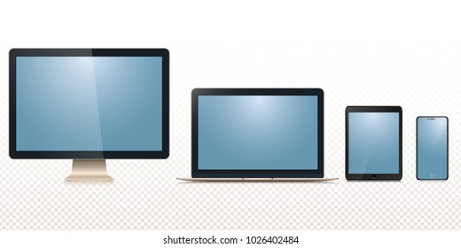 New set of monitor, laptop, tablet, smartphone isolated on a transparancy background.