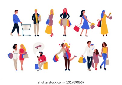 New set of people carrying shopping bags with purchases. Men and women taking part in seasonal sale at store, shop, mall. Spending money. Flat Cartoon characters isolated on white background Vector