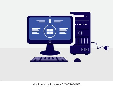 New setup to windows vector.Computer operating system