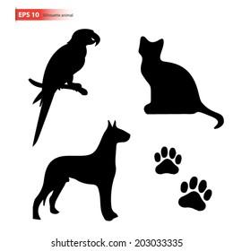 New silhouette pet ,dog,cat,parrot bird