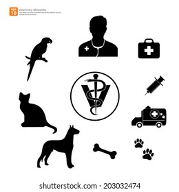 New silhouette veterinary with pet shop