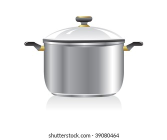 New silver pan isolated on white background. Vector illustration.