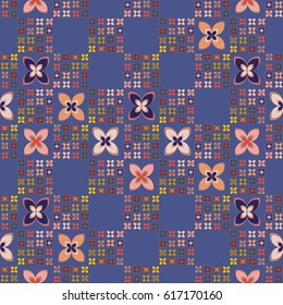 New simple abstract geometric seamless pattern with flower for background. Geometric backdrop with flower silhouette.