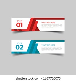 New simple infographics template design. Informational business concept with 2 options, steps, or processes. Abstract geometric design for workflow layout, diagram, website, annual report in red blue.