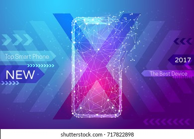 New smart phone white low poly on colorful background. Abstract image frameless device in the form of a starry sky or space, consisting of points, lines, and shapes . Vector gadget banner concept.