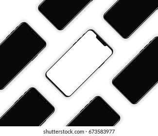 New smartphone design background. Mobile phones mockup. Vector illustration