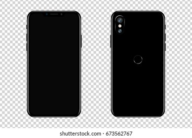 New smartphone design isolated. Mobile phone mockup. Vector illustration