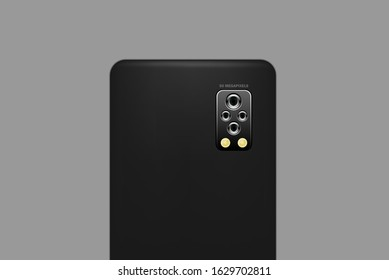 The new smartphone has 4 cameras, 2 lenses and a flash. 50 megapixel resolution, gray background, vector images.