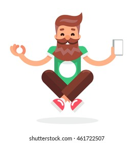New Smartphone Mobile Technology Enlightenment Hipster Geek Cartoon Symbol Flat Design Template Vector Illustration
