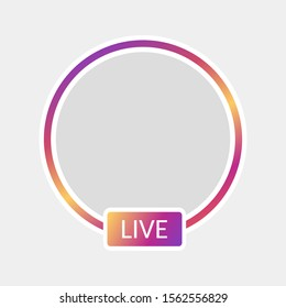 New Social media icon avatar LIVE video streaming colorful gradient.Element for social network, web, mobile, ui, app Vector EPS 10.