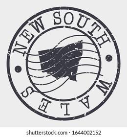 New South Wales Australia Stamp Postal. A Map Silhouette Seal. Passport Round Design. Vector Icon Design Retro Travel.