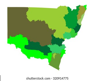 New South Wales, Australia vector map illustration isolated on white background.