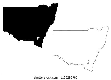 New South Wales (Australian states and territories, NSW) map vector illustration, scribble sketch New South Wales map