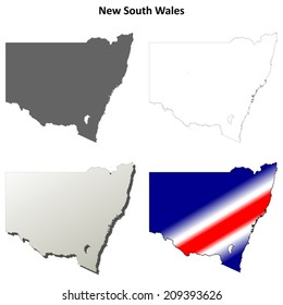 New South Wales blank detailed outline map set - vector version