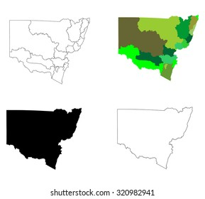 New South Wales contour, Australia vector map illustration isolated on white background.
