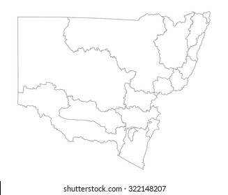 New South Wales map contour, Australia vector map illustration isolated on white background.