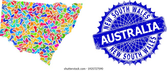 New South Wales map vector image. Spot collage map and distress stamp for New South Wales. Sharp rosette blue stamp with tag for New South Wales map.