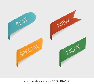 New and special and now and best tag ribbon and banner vector.