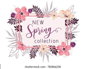 New spring collection background with beautiful pink and fucshia flowers, vector illustration template for banners, wallpaper, flyers, invitation, posters, brochure, voucher discount.