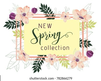 New spring collection background with beautiful ligth pink and purple flowers, vector illustration template for banners, wallpaper, flyers, invitation, posters, brochure, voucher discount.