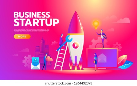 New startup project business plan, development of investment search. Successful Business team working on launch of startup new project with ideas