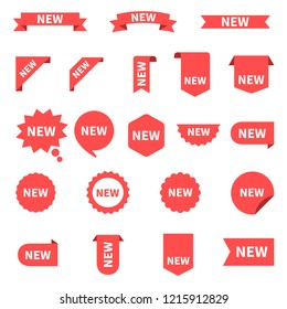 New sticker set labels. Product stickers with offer. New labels or sale posters and banners. Sticker icon with text. Red isolated on white background, vector illustration.