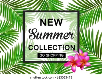New summer collection sale banner. Exotic tropical background with place for text, palm leaves, pineapple and summer cocktail.