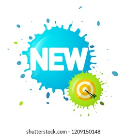 New Symbol on Splash with Dart on Target. Business Vector Icon.