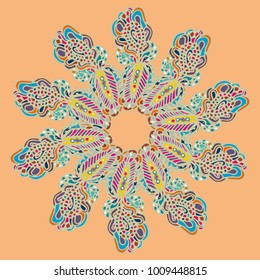New symmetrical mandala in style zentangle inspired art with doodle. Decorative object can be used for wallpaper, pattern fills, web pages, surface textures.