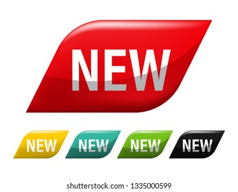 New tag banner label badge design. Channel promotion sale.