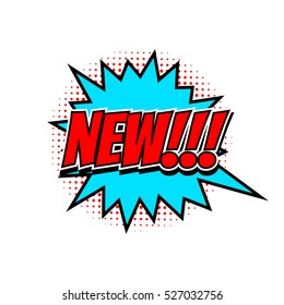 New tag in comic speech bubble, halftone design, isolated vector