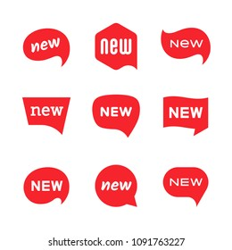 New tag icons, labels and stickers with dialog speech bubble