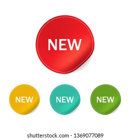New tag label banner vector. New sticker set promotional.