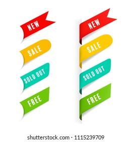 New tag ribbon and banner vector badge design.