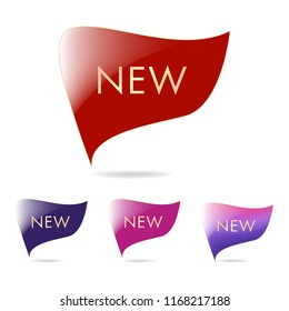 New tag ribbon and banner vector. business pony or galaxy theme label.