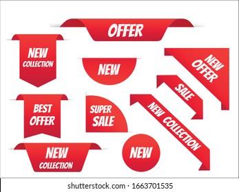 New tag ribbon and banner vector. Big sale special offer. end of season special offer banner. vector illustration.
