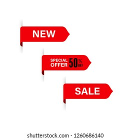 new tag and special sale label. red banner and badges design.