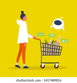 New technologies. Cute robot helping at the supermarket. Groceries. Millennial lifestyle. Healthy eating. Interface. Flat editable vector illustration, clip art