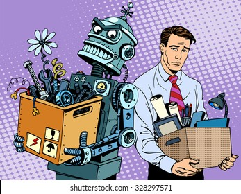 New technologies robot replaces human pop art retro style. Gadgets are changing the world