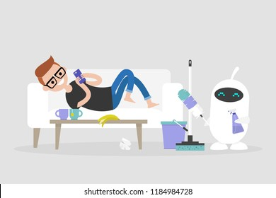 New technologies. Smart home. Cleaning the apartment. Cute white robot holding the cleaning tools: a feather duster and a cleaning spray / flat editable vector illustration, clip art