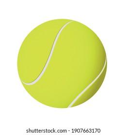 New tennis ball on white background