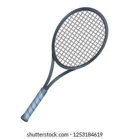 New tennis racket. Tennis gear for the game. Vector illustration on a white background.