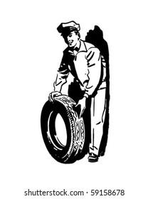 New Tire And Serviceman - Retro Clip Art